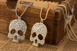 Wholesale Skull Fashion Necklaces Silver - Rhinestone Sugar Skull Necklace Female New Fashion Hiphop Jewelry Mexico Skeleton Pendant Necklaces Sweater Chain Accessories