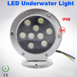 Wholesale Led Underwater Fishing Light Boat - 2PCS 9W RGB LED Fountain Pool Light LED Underwater Boat Lights AC DC12V Stainless Steel Outdoor Lighting Led Fish Lamp Dock Lights