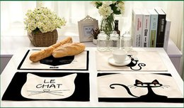Wholesale Dinner Cups - Hot Sale Black Cats Table Mat Cotton Linen Drawing Placemat Dishware Coasters For Dinner Accessories Cup Wine mat