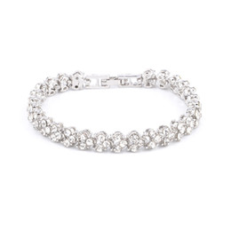 austrian crystals rings wholesale Coupons - Luxury Austrian Clear Crystal bracelet full Rhinestone Silver Rose Gold Tennis Bridal Bangle For women Wedding Party Fashion Jewelry