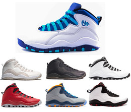 Wholesale Flag Packs - 2016 air retro 10 NYC charlotte Hornets blue City Pack CHI Chicago Flag Steel Grey powder Blue Seattle Ice Blue mens basketball shoes