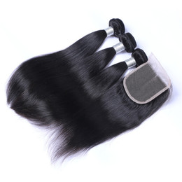 Wholesale Cool Weave - Cool 7A Quality Indian Straight Hair with one 4*4 Laceclosure No Shedding Free Tangle Full And Thick Free Shipping Fee DHL