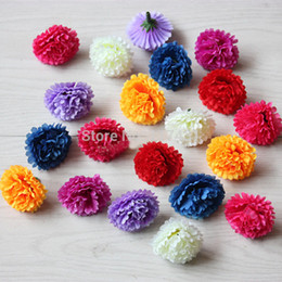 Wholesale Wholesale Silk Carnations Heads - 1603 Free shipping (200pcs lot) 4cm Simulation Artificial Silk Small Clove Carnation Head Mother's Day Decoration DIY