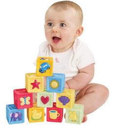 Wholesale Soft Building Blocks - 10Pcs  set baby blocks toys non-toxic soft plastic Cartoon Cube Building Blocks Baby Kids Children Educational Toy