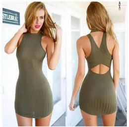 Wholesale Cheap Women Tank Tops - 2016 summerwomens sexy tight fitted tank top dresses bodycon night out club wear women back cross halter dresses cheap clothes free shipping