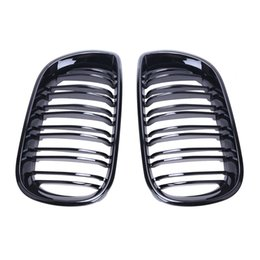 Wholesale Grill Brands - Brand New Double Line Gloss Black Front Grill Grilles For BMW E46 3 Series 320i 325i 330i 4 Door Sedan 2002 2003 2004 2005 #P241