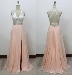 Wholesale Open Back Summer - 2016 Prom Dresses Sexy V-neck Chiffon Tulle Appliques Light Pink Lace Beaded A-line Split Front Open Back Formal Evening Gowns Real Sample