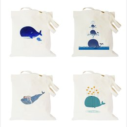 Wholesale Fruit Canvas Art - New Cotton Blend Cartoon Fruit Animal Printed Dolphin Series Canvas Totes Bag Art Women Shopping Shoulder Bags