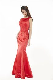 Wholesale Chinese Style Sexy Dress - Chinese Style Theme Photo Dresses Red Backless Type Double Shoulder Concise Satin Sexy Evening Show Wedding Dresses