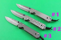 Wholesale Chris Reeves Knifes - Top quality Chris Reeve Sebenza 21 Small folding Knives Damascus steel 58HRC blade knife CNC titanium alloy handle knife knives