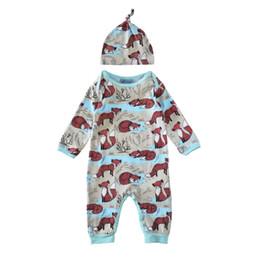 Canada Nouveau Enfants Vêtements Sets Foxes Imprimer Combinaisons Hiver Automne Printemps Manches Longues Bébé Costumes Décontractés Infantile Barboteuses Offre