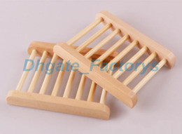 Wholesale Natural Wooden Boxes - 100PCS Natural Bamboo Wooden Soap Dish Wooden Soap Tray Holder Storage Soap Rack Plate Box Container for Bath Shower Bathroom JF-655