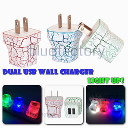 Wholesale Ac Usb 2a - LED Dual USB Wall Charger Cracks Style Color Glowing Light UP 5V 1A 2A AC Travel Home Charging Power Adapter for iphone Samsung High Quality