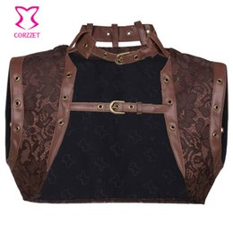 Wholesale Sexy Red Leather Jacket - Vintage Brown Floral Pattern Brocade and Leather Steampunk Jacket Women Bolero Gothic Clothing Corsets and Bustiers Accessories