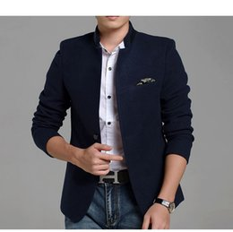Wholesale Tunic Collar Jacket Men - 2017 Corduory Slim Single Breast Blazers Men Stand Collar Chinese Style Suit Jackets for Men Chinese Tunic Suit Men Blazers