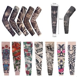 Wholesale Tattoo Sleeve Anti Uv - Fashion 108 Styles Tattoo Cuff Arm Tattoo Stockings Art Tattoo Stripe Sleeve Anti UV Unisex Arms Costume Wears Free DHL L4