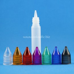 Wholesale Mouth Set - 100 Sets Lot 10ml 15ml 30ml UNICORN Plastic Dropper Bottles Crystal Cap Long Thin Tip Wide Mouth e Liquid 10 15 30 mL