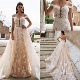 Wholesale Nova Long - Milla Nova Champagne Wedding Dresses Mermaid Full Lace Over Skirts Applique Illusion Off Shoulder Backless 2017 Country Vintage Bridal Gowns