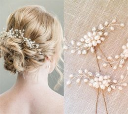 Wholesale Queen Hearts Accessories - Wholesale Wedding Bridal U Pins Lot Headpiece Pearl Hair Accessories Clip Gold Crystal Rhinestone Pieces Princess Queen Crown Tiara Jewelry