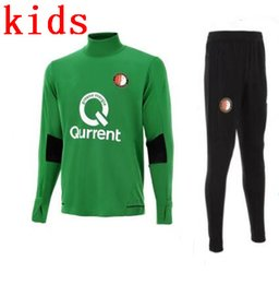 Wholesale Boys Green Suit - top Quality Soccer Jersey2017 2018 Feyenoord kids kit training suit Kuyt Lex VILHENA Simon maillot de foot 17 18 KIDS green tracksuit sets