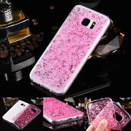 Wholesale Glitter Silicone Iphone Cases - For iphone 6 7 plus Galaxy S7 edge Bling Platinum Fashion TPU Soft Silicone Glitter Case Golden Silver Powder Goldleaf Clear Jelly Covers