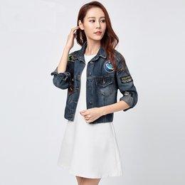 Wholesale Long Style Blouse Patterns - WomensDate 2016 Korea Loose Jeans Small Jacket Blouse Embroidery Badge Style Denim Jacket Women Jackets