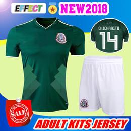 Wholesale Jersey Shorts Set - 2017 Mexico national team Adult Mexico Kits Soccer Jerseys Uniform Home Green Men Set 2018 World Cup G.Dos Santos CHICHARITO football shirts