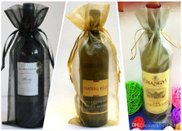 Wholesale Organza Wine Bottle Gift Bags - Free Ship 300pcs Gold 14*36cm Wine Bottle Organza Bags Wedding Party Christmas Candy Gift Bags