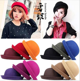Wholesale Small Brim Summer Hats - 2017 New Fashion Vintage Woman Wool Cloche Hats Cap Winter Elegant Plain Bowler Derby Small Fedoras Hat Ladies hats by alice