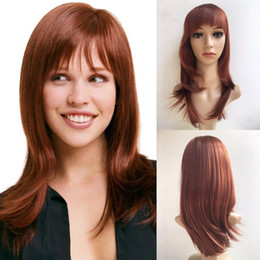Wholesale Red Straight Wig - Stylish Wig Show Wine Red Hair Naturel Fashion Sexy Synthetic Straight Long Full Women Hair Wigs