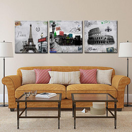 Wholesale Paris Art Canvas - 3 Picture Combination Modern Giclee Prints Artwork New York Statue of Liberty Rome Colosseum and Paris Metro Eiffel Tower on Canvas Wall Art