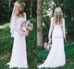 Wholesale T Shirt Dresses For Cheap - 2018 Cheap Country Bohemian Mermaid Wedding Dresses Full Lace Sheer Long Sleeves Sweep Train Bridal Gowns For Garden