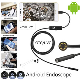 Wholesale Mini Camera Tube - high quality 2M Cable 7mm 6 Leds IP67 Waterproof Usb Endoscope Android OTG Snake Tube Pipe 5cm 480P Mini Surveillance Inspection Camera