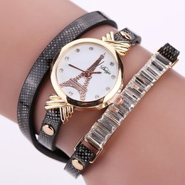 Wholesale Funky Red - New Woman Funky Bracelet Watch Crystal Leather Watch Japan Movement Clock Round Dial Narrow Strap Free Shipping Via DHL