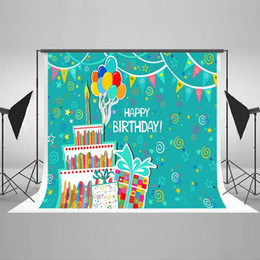 Wholesale Photography Props For Adults - Kate 7x5ft Happy Birthday Photography Backdrop Cake Balloon Photo Background for Adult Cotton No Wrinkle Photo Booth Props HJ04226