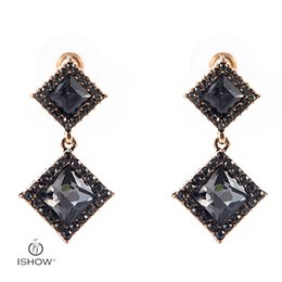 Wholesale Rhombus Earrings - New Woman Wedding Bride Gold-color Gray Crystal Rhombus Drop Earrings Rhomb Dangle Earrings Fashion Gift Female Jewelry Boucle