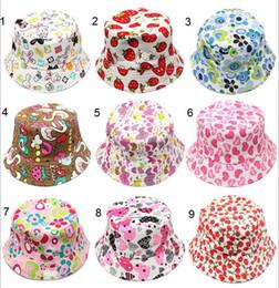Wholesale Children Strawberry Cap - 30 Style Children Emoji Bucket Hat Casual Flower strawberry Sun Printed Basin Canvas Topee Kids Hats Baby Beanie Caps