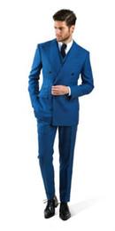 2016 Custom Made blu risvolto abiti da sposa per gli uomini smoking abiti a doppio petto abiti da uomo (Jacket + Pants + vest + tie) da