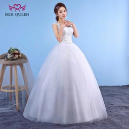 Wholesale Princess Castles - ISER QUEEN Lace Emboridery Appliques Sheer Neck Wedding Dresses 2018 Sleeveless Lace up Back Cheap Price Simple Wedding Dress WX0041