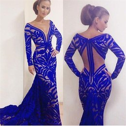 Wholesale Free Carpet Images - Custom Made Mermaid Royal Blue Formal Evening Dresses V-Neck Long Sleeve Backless Floor-Length Prom Gowns Free Shipping