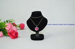 Wholesale Portrait Props - Wholesale 5pcs 11cm height Jewelry Display Props Necklace Mannequin Pendant Stand Black Velvet Mini Plam Bust Portrait