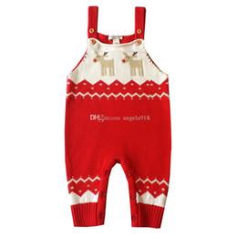 Wholesale New Fashion Baby Deers - New Christmas deer knitting baby suspender pants fashion kids Bib pants children winter Jumpsuit pants free shipping C1459