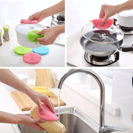 Wholesale Kitchen Hot Pads - 2017 Hot sale Magic Silicone Dish Bowl Cleaning Brushes Scouring Pad Pot Pan Wash Brushes Cleaner Kitchen 100pcs