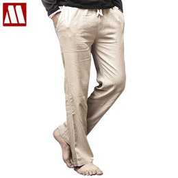 Wholesale Trouser Style For Mens - Wholesale-High quality Mens Linen Pants 2016 Summer Style Joggers Solid Color Casual Loose Cotton and Linen sweatpants Trousers For Men