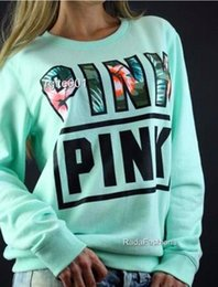 Wholesale Colorful Girl Clothes - New colorful lovely pink letter hoodies fleece sweatshirt female clothes slim loose women hoodies sweatshirts for girls pullover svitshot