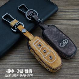 ford fusion keys Rebajas Alta calidad para Ford Mondeo / Fusion / Edge 3 botones Inteligente cuero genuino Graffiti Control remoto llavero del coche cubierta de la llave accesorios para automóviles