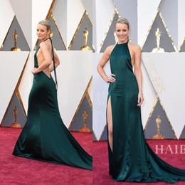 Wholesale Tuxedo Ladies White - 2016 Sexy Elegant evening dresses Dark green Halter Split Celebrity Formal Dresses Long Train 2017 Backless Ladies formal tuxedo QW811