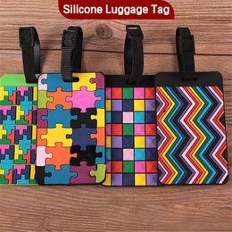 Puzzle Fashion cartoon Silicone bagagli Tag viaggio valigia Tag Carino Cartoon identificazione dei bagagli Carta d'imbarco Etichetta selezionata da