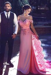 Wholesale Vestidos Noche Satin - Candy Pink Lace Evening Gowns 2017 Arabic Off the Shoulder Long A-Line Prom Dresses in Dubai Appliques Vestidos de noche