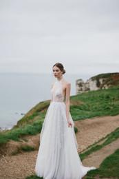 Wholesale Halter Dress Sheer Skirt - 2017 Wedding Dresses With A-Line Princess Halter Sweep-Train Lace Beads Applique Illusion Bodice Elegant Beach Wedding Dresses #DL11017